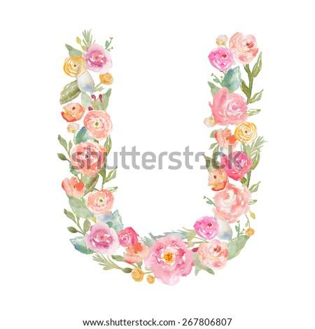 Floral Watercolor Flower Monogram Letter U. Letter U Made of Flowers.