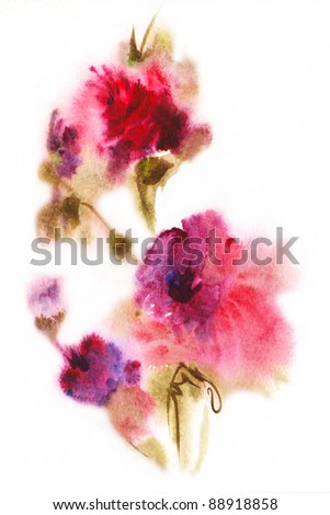 floral watercolor illustration( - stock photo