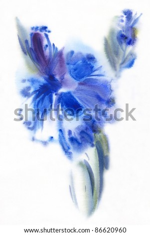 "floral watercolor illustration Album "" Blue flowers watercolor"" "" flower watercolor"""