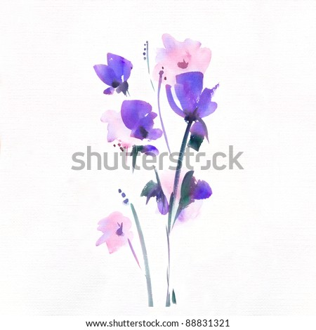 "floral watercolor illustration Album ""Bouquet of flowers"".""Blue flowers watercolor""."