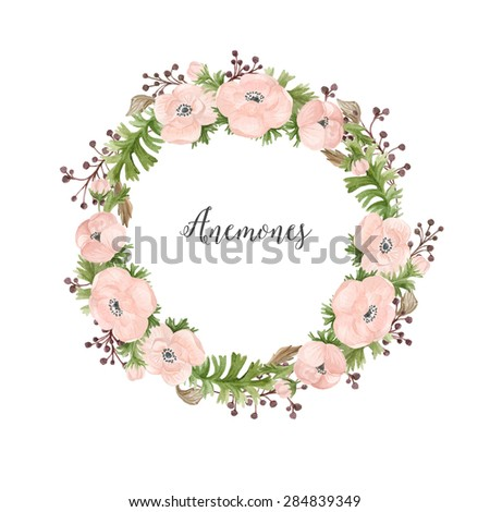 Floral watercolor wreath of anemones