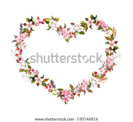 Heart Made Of Pink Flowers And Candy Confetti On White Background