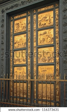 Florence baptistery famous golden entrance door, Italy. Baptistery is one of the oldest buildings in the city, Ghiberti golden doors were completed in the XV century