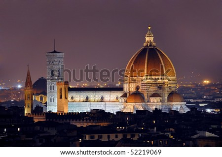Florence cathedral by night