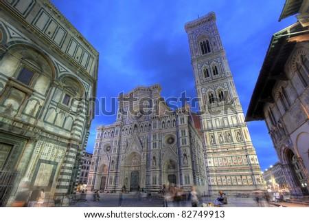 Florence Cathedral (Duomo - Basilica di Santa Maria del Fiore) during twilight from street level (Piazza del Duomo)