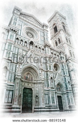 Florence Cathedral in retro style picture
