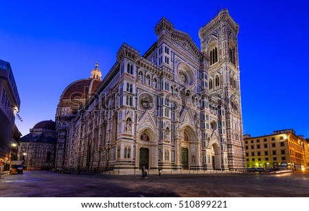 Florence Cathedral of Saint Mary of Flower, Florence Duomo (Duomo di Firenze) and Giotto s Campanile of Florence Cathedral in Florence, Italy. Night view of Florence architecture.