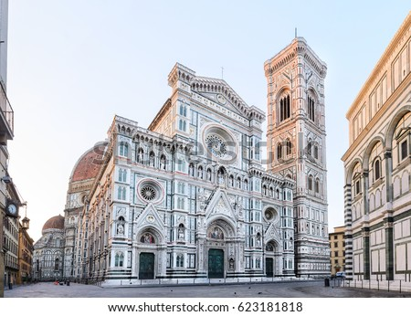 Florence Cathedral Santa Maria del Fiore sunrise view, empty streets and square, Tuscany, Italy