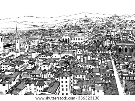 Florence city panorama. Black and white dashed style sketch, line art, drawing with pen and ink. Retro vintage picture.