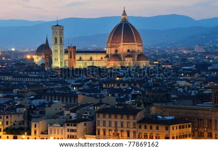 Florence dome and Campanile Tower, night view, Tuscany