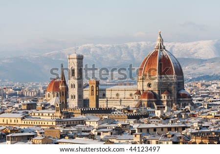 Florence Dome Covered in Snow