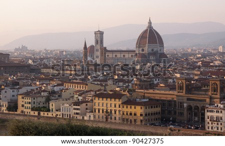 Florence (Firenze) Italy, skyline shot at dusk.  Featuring the Florence Cathedral (Basilica of Saint Mary of the Flower) more commonly known as the Duomo.