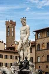 Florence, Fountain of the Neptune by Bartolomeo Ammannati 1560-1565, Piazza della Signoria, and the Bargello Tower (Volognana). UNESCO world heritage site,Tuscany, Italy, Europe