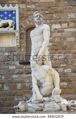 Florence Hercules and Cacus, marble statue by Baccio Bandinelli.
