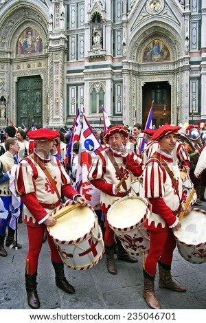 FLORENCE, ITALY - EASTER SUNDAY APRIL 16, 2006: Drummers walk in Easter parade on April 16, 2006, Florence, Italy. Celebration \
