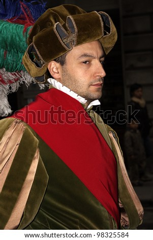 FLORENCE, ITALY - EASTER SUNDAY APRIL 16, 2006: Unidentified participant walks in Easter parade wearing costume on April 16, 2006, Florence, Italy. Celebration \