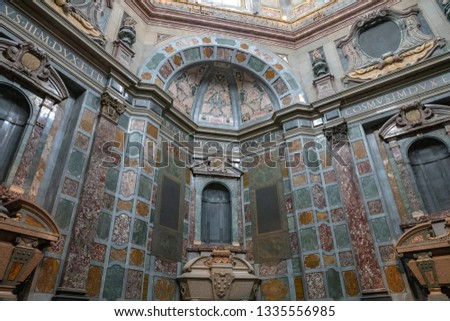 Florence, Italy - June 24, 2018: Panoramic view of interior of the Medici Chapels (Cappelle Medicee) are two structures at the Basilica of San Lorenzo in Florence #1335556985