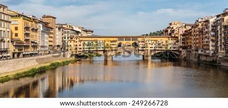 FLORENCE, ITALY - 23 JUNE, 2014: Panoramic view of the bridge Ponte Vecchio #249266728