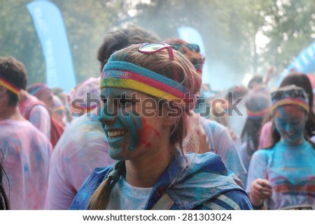 FLORENCE, ITALY - MAY 23: Thousands of people take part to the Color Run event, the funniest and most colorful urban running ever on MAY 23, 2015 in Florence.