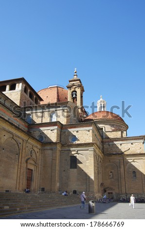 FLORENCE, Italy - OCTOBER 02,2011: Church of San Lorenzo in Florence Italy.Tourists visiting Church of San Lorenzo - medieval temple in the center of Florence #178666769