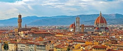 Florence Italy Panorama with Arno River Old Palace and the Big Dome of The Cathedral called Duomo di Firenze  with vivid colors