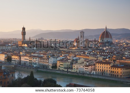 Florence, Italy - skyline at sunset