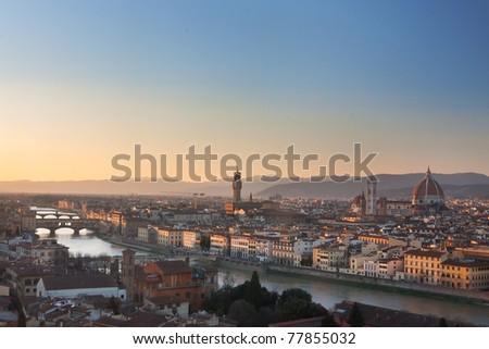 Florence, Italy - skyline with Duomo, Palazzo vecchio and Ponte vecchio - stock photo