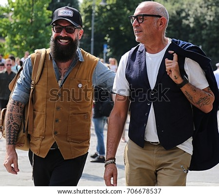 FLORENCE- 14 June 2017 Men on the street during the Pitti #706678537