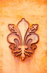 florence lily coat of arms in a rusty metal plate