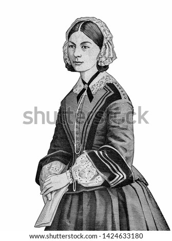 Florence Nightingale Nurse, in a romanticized portrait as the LADY WITH THE LAMP, portrait from England money on 10 pound sterling (1984) banknote,  Close Up UNC Uncirculated - Collection