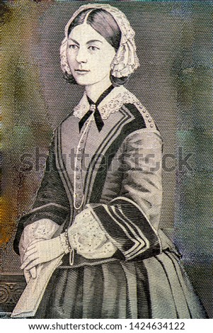 Florence Nightingale Nurse (The lady of the lamp) portrait from England money on 10 pound sterling (1984) banknote, Close Up UNC Uncirculated Collection. #1424634122