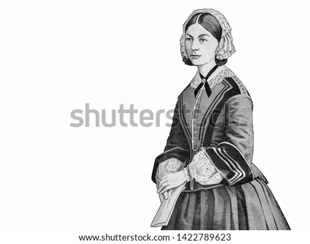 """Florence Nightingale Nurse (1820-1910). """"The Lady with the Lamp"""" hospital scene at Scutari (Uskudar; Chrysopolis). Portrait from Great Britain 10 Pounds 1975-1992 Banknotes."""