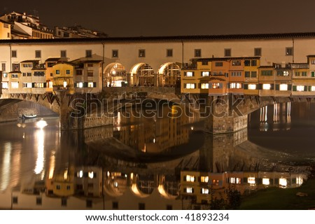Florence, Old Bridge or Ponte Vecchio at night, Close up