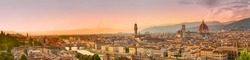 Florence Panorama. Panoramic image of Florence, Italy during beautiful sunset