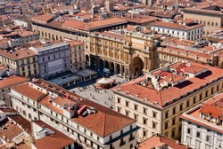 Florence, Piazza della Repubblica (Republic square) aerial view