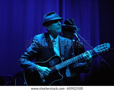 FLORENCE - SEPTEMBER 1: Leonard Cohen performs in front of a big audience for his only Italian date of the tour: Florence, piazza Santa Croce on September 1, 2010.