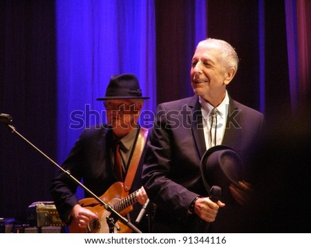"FLORENCE, SEPTEMBER 1ST, 2010: Leonard Cohen to release  new studio album ""Old Ideas"" in January 2012. Here on stage with Bob Metzger (guitar) in Florence, piazza Santa Croce on September 1st, 2010."