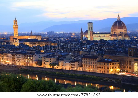 Florence skyline at night, Italy