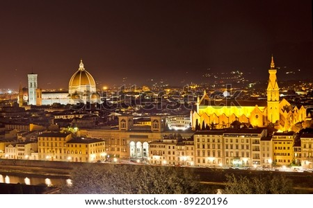 Florence Skyline at night, Italy
