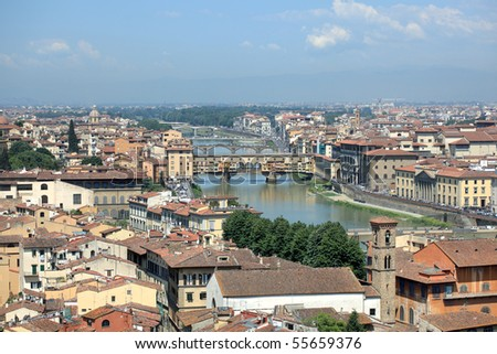 Florence skyline with Ponte Vecchio across the Arno River, Tuscany, Italy