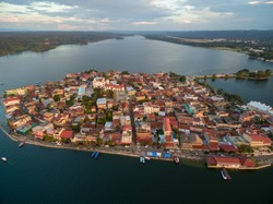 Flores island in Guatemala. Sunset Light with Lake Peten Itza in background