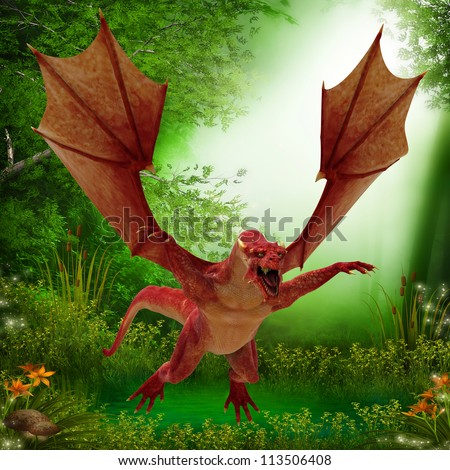 florest dragon flying in the forest