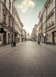 Florian street in historic city center of Krakow, Poland