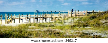Florida Beach, with a view to the beachwalk and in the background the fishing pier with nice and soft light