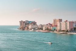 Florida beaches. Gulf of Mexico. Clearwater Florida. View on beach and hotels. Spring or summer vacations.