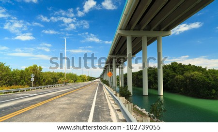 Florida Keys US1 Highway bridge with mangroves and blue sky.