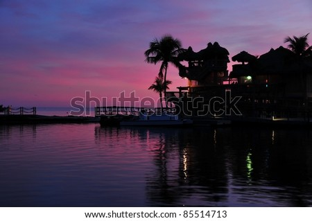 Florida Keys USA. Beach Sunset. Small Private Pier.