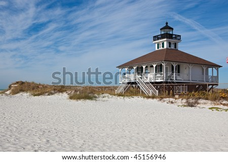 Florida lighthouse with dunes and beach
