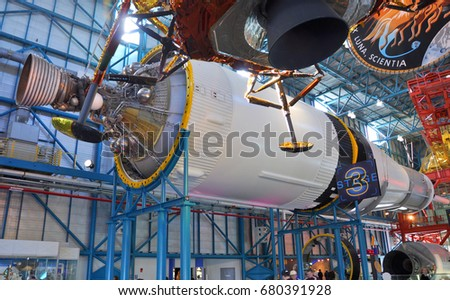 FLORIDA, USA - DEC 20, 2010: Saturn V Rocket displayed in Apollo/Saturn V Center, Kennedy Space Center Visitor Complex in Cape Canaveral, Florida, USA. #680391928