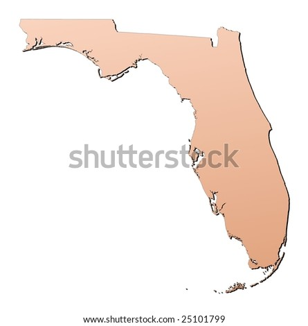 Florida (USA) map filled with brown gradient. Mercator projection.